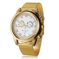 Top Selling 2014 Coupon Gold Watch Brand Female Stainless Quartz Watches Women Fashion Luxury Watch