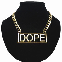 HipHop pendant necklace For Women DOPE Letter charms Necklace Gold Plated Chain