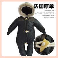 Winter Baby Boy Romper Cotton Coat France Brand Weatherproof Warm Fluff Hooed Newborn Winter Rompers Baby Coat nb-18mTop Quality