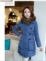 2014 new  Heavy hair in long down jacket Women cultivate one's pocket