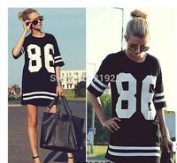 The new 2014 women fashion long paragraph numbers T shirt free shipping