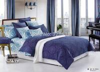 1.8-meter queen size 100% cotton comforter bedding sets; turquoise+dark blue duvet/quilt cover bed linen/sheet bedclothes cama