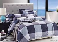 1.8-meter plaid queen pure cotton comforter bedding sets; Reactive printing brown duvet/quilt cover jogo de cama+2 pillow covers