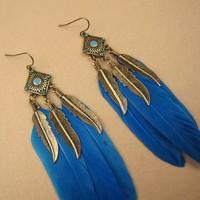 blue charm Vintage gold leaf blue feather earrings 2014 fashion drop long earrings for women