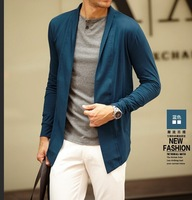 Spring/Autunm Mens Cardigan Solid Thin Shirts Casual Turn-down Collar Blazer Male Clothing Shirt Wholesale Free Shipping