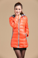 2014 winter down women coat cotton-padded cheap wadded Down & Parkas women medium-long slim