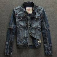 2014 Autumn Male retro finishing denim clothing outerwear slim hole vintage plus size  jacket top