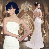 Princess ! slim waist and fish tail slim hip slim train sexy bride dress lace wedding dress