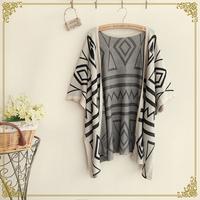 Free Shipping,Retail 2014 New Japanese Autumn Mori Girl Women's Geometric Half Sleeve Cotton Knit Jackets,Female Casual Coats