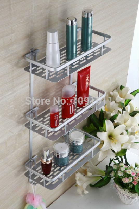 Shelf bath hardware set bathroom shelf rectangle shelf Space aluminum bathroom pendant Free Shipping A15(China (Mainland))