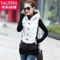 Fashion design short hooded down vest cotton vest female NEW 2014 autumn and winter waistcoat wadded jacket vest female  frozen