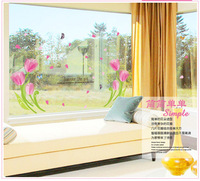 Transparent film stickers bedside decorative background wallpaper mural wall stickers fantasy flowers