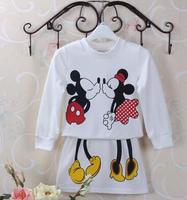 Han edition children's clothing tide female children whimsy mickey design handbags hip skirt suit or two