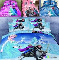 Frozen Bedding Princess Elsa Anna Bedding set linen for kids love cartoon pink blue bed set duvet cover 100% cotton