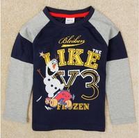 Free Shipping 2014 New Autumn Boys Frozen T-shirts 100% Cotton Kids Olaf t-shirt Baby frozen Print tshirt NOVA Cartoon Clothing