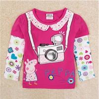 Free Shipping 2014 New Arrival Girls Peppa pig T-shirt 100% Cotton Baby tshirts Kids Embroidery t-shirts NOVA Cartoon Clothing