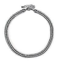2014 new design fashion full crystal rhinestone chain bib necklace black plated