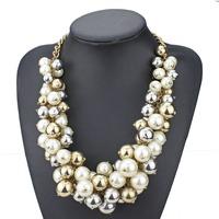 2014 new design fashion za brand full simulated pearl pendant choker necklace