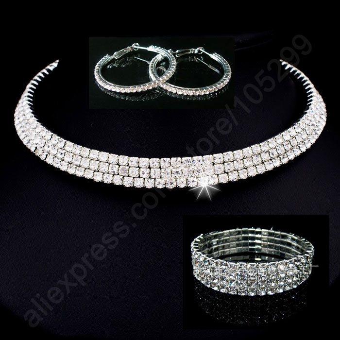 Promotion sale!2015 Bride Engagement Wedding Jewelry Set 925 Sterling Silver SW Element Crystal Necklace Stud Earring 4 Lines Bracelet SET(China (Mainland))