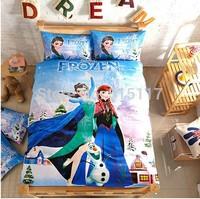 Frozen Princess Elsa Anna Bedding set 3pcs sheet linen for kids love cartoon pink blue bed set duvet cover 100% cotton