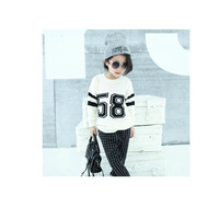 Free shipping Retail 2014 Autumn new girls digital loose lengthened sweater long sleeved sweater a generation of fat