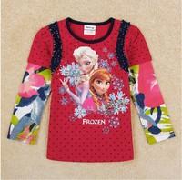 Free Shipping 2014 New Arrival Girls Frozen T-shirt Kids Anna's Elsa's t-shirts Baby frozen Printed tshirt NOVA Cartoon Clothing
