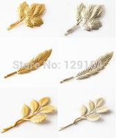 New Hair Jewelry Maple Leaf Hairpins Gold Silver Hairpin Acessorios Para Cabelo Women Hair pin Bridal Hair Accessories