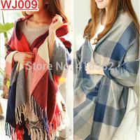 WJ009-- New Hot sale winter warm women Cashmere Scarf Fashion plaid big size shawl scarves  free drop shipping