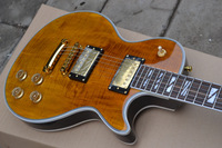 Free shipping!customised elelectric guitar supreme type thin brown color high grade flame way+ fingerboard+gold parts!