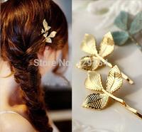 New Boho Chic Fashion Girls Headwear Vintage Gold Three Leaf Hairpins Side Clip Wedding Bride Hair Accessories