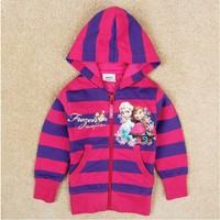 Free Shipping 2014 New Design Girls Frozen Outerwears kids Elsa's Coat Sweater Baby frozen Printed jackets NOVA Cartoon Clothing