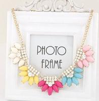 Water Drop Flower Shourouk Crystal Gem Chunky Collar Choker Statement Necklaces & Pendants New 2014 Fashion Jewelry Women N195