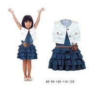 2014 New children nice girls Denim vest skirt two pcs set chidlren white pants wear cotton suit children clothing set 5set/lot