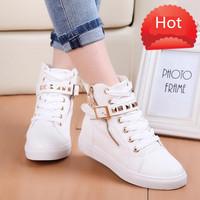 2014 Autumn Women's Shoes Casual Lace Up Boots Zipper Channel Flats Canvas Sport Buckle Rivet Sneakers Anti-slip Womens Shoes
