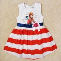 Free Shipping 2014 New Arrival Girls Frozen dresses Kids Anna Princess dress Baby frozen Printed Dresses NOVA Cartoon Clothing