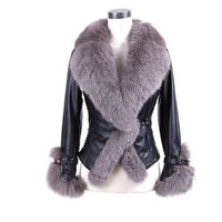 Free shipping 2014 winter trade explosion models imitation sheepskin leather coat jacket fox fur collar coat jacket grass
