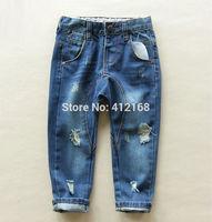 6303# Wholesale Brand High Quality Boy's Girl's denim harem pants Children's jeans pants100% cotton paint hole jeans harlan 2014