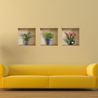 Free Shipping Green potted landscape 3D Art Wall Decals/Removable PVC Wall stickers or your home or office Decor