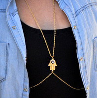 Fashion Chain Necklaces For women 2014 body Jewelry Fatima HAMSA Charms Necklace Gold Body Chain Gold / Silver