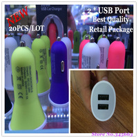 20PCS/LOT Universal Dual USB Port 5V 2.1A Car Charger,USB Car Charger for iphone,ipad,Samsung,tablet pc with Retail Package