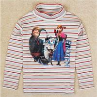 Free Shipping 2014 New Autumn Boys Frozen T-shirt Kids 100% Cotton t-shirts Baby frozen Printed tshirt NOVA Cartoon Clothing