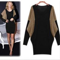 2014 New Fashion Women Winter Sweater Dress XXL XXXL 4XL Plus Size Women's Batwing Sleeve Oversized Knitted Sweaters Dresses
