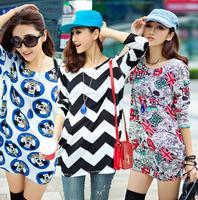 2014 New Womens Winter Dress XXL XXXL 4XL Plus Size Long Sleeve Dresses Wool Cotton Oversized Sweater Dress Casual Print