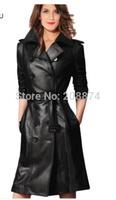 Motorcycle leather jacket 2014 new leather jacket women's long plus size S-XXXL leather coat women genuine leather trench black