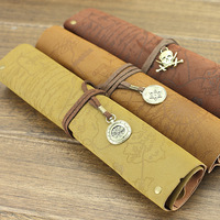 Free shipping Khaki/ brown/ chocolate pu Leather cloth with soft nap Creative treasure map Pencil Bag A013