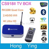 CS918II Android 4.4 Rk3288 Quad Core A17 2GB/16GB Tv Box Bluetooth 4.0 lan 2.4/5.0ghz xbmc 4k*2k 1080p 3D GPU Blue-Ray Player