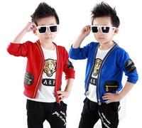 The new 2014 han edition children's wear three-piece cardigan fleece long-sleeved sport suit