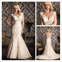 New Fashion Mermaid V-Neck Wedding Dress High Quality White/Ivory Backless Lace Wedding Gown  al33