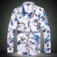 2014 new autumn men fashion shirts high quality plus size 3XL 4XL 5XL floral print casual shirts men