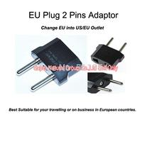 Free Shipping Cheap Price 1pc High Quality EU Plug 250V/10A Travel Black Adaptor for EU plug into US/EU  2 Pin